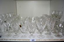 Shelf of drinking glassware and crystal to incl.