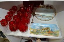 Shelf: ruby glass brandy balloons, sandwich