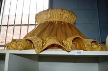 Large vintage gold satin frilled standard lamp