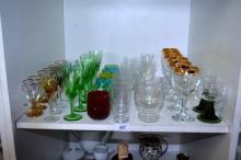 Shelf: glasses, mostly sets, incl. coloured