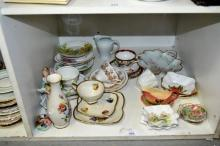 Shelf: various china incl. trios, side dishes,