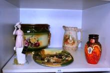 Shelf: pottery to incl. a Nadal Spanish porcelain