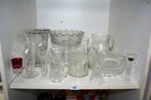 Shelf: cut crystal & vintage glassware to incl.