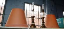 2 large glass & brass table lamps with apricot