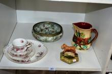 Shelf: antique majollica jug, pottery ash tray wih