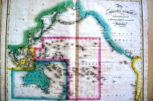 Antique map, showing the Pacific Ocean rim and