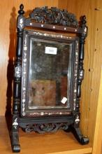 Vintage oriental rosewood mirror, inlaid with