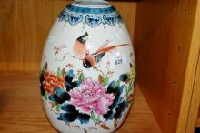 Oriental ovoid shaped vase with birds & flowers