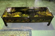 Orential lacquered coffee table fitted with 3