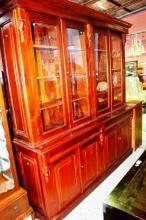 Large full mahogany library bookcase, 4x glazed