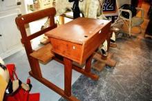 Vintage child's school desk, solid timber