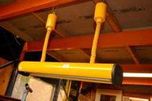 Retro German yellow fluro hanging light,