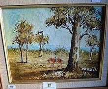 C.A. Barte?, oil on board, Stockmen on horseback