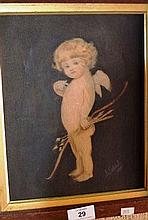 Antique watercolour on card, 'Young cherub with