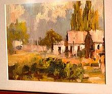 Joe Penn, oil on board, 'Historic shadows' signed