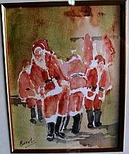David Beschi, watercolour 'Scholl for Santa's'