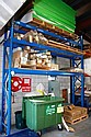 Single bay of pallet racking in blue, two end