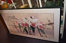 Chinese watercolour of flowers & bamboo with
