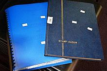 Blue stamp album + another blue folder containing