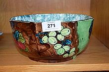 Hand painted English fruit bowl by S. Hancock &