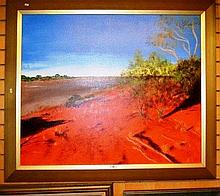 Artist unknown, oil on canvas, outback red desert