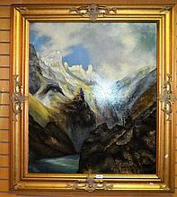 Artist unknown, oil on canvas, mountain river