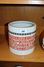 Modern Chinese brush pot with red & green