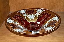 Large Bohemian cranberry glass bowl, heavily