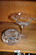2 pieces of cut crystal incl a Webb Corbett fruit