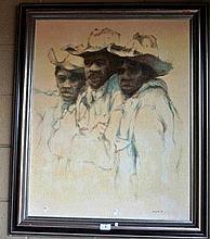 McAulay, oil on canvas board, 3 young aboriginal