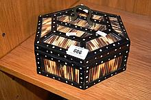 Ceylon ebony hexagonal box inlaid with porcupine