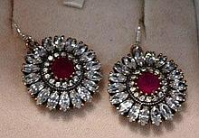 Pair of ornate ruby & zircon drop earrings