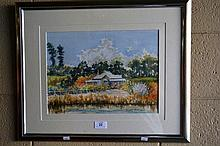 Henry Harrison, watercolour, 'Bell's Farm' signed,