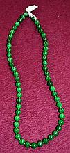 Green jade style stone beaded necklace