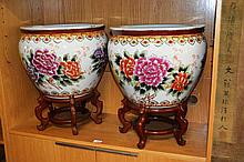 Pair of large modern Chinese porcelain pots on