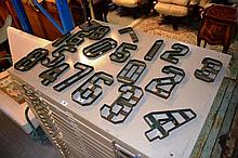 2 sets of green painted hand made steel letters,