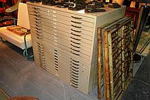2 banks each containing 10 metal plans drawers, 20
