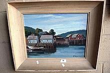 Raymond, oil on board, river jetty scene with