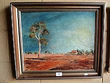 Langley Scott, oil on board, outback scene with