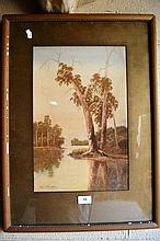 Gladstone Eyre, watercolour, river scene with gum