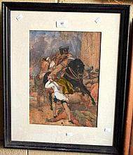 S Gompertz, watercolour, scene from the Crusades