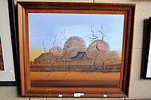 Nick Petali, oil on board, outback slab hut with
