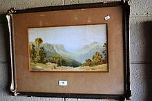 George Ansdell, watercolour, Blue Mountains valley