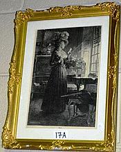 T Robert Fleury antique engraving of an interior