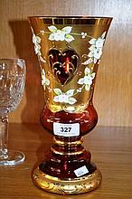 Bohemian cranberry glass vase with gilt & enamel