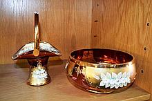 2 pieces of Bohemian cranberry glass, a bowl & a