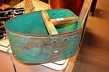 Large vintage scoop or peg bucket galvanised metal