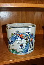 Large Chinese polychrome & glazed brush pot with
