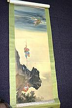 Good vintage Chinese painted scroll on silk
