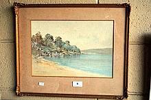 Lionel David, watercolour, harbour beach scene,